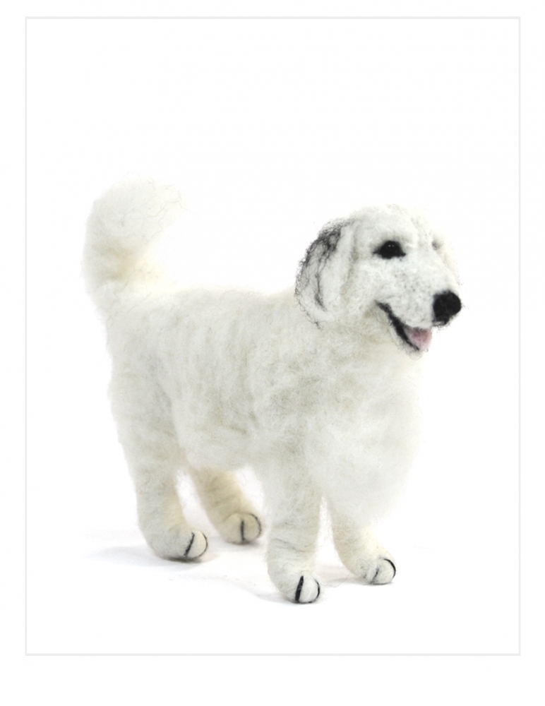 Great Pyrenees Dog: Alpaca Fiber Sculpture