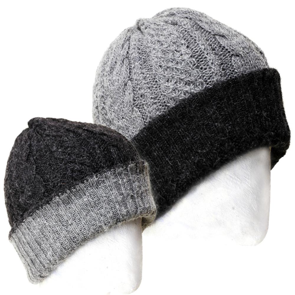 Irish Reversible Hand Knit Alpaca Beanie
