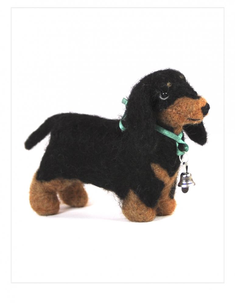Dog: Dachshund Felted Alpaca Sculpture