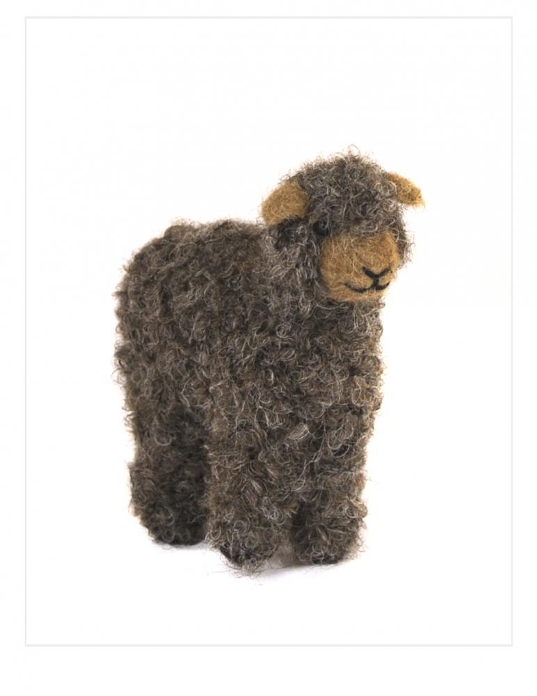 Boucle Lamb: Felted Alpaca Sculpture
