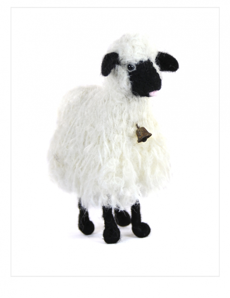 Boucle Bell Sheep: Alpaca Fiber Sculpture