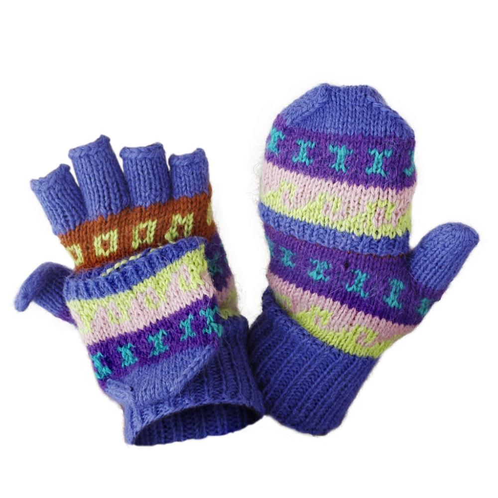 Pattern-Striped Hand Knit Alpaca Glittens