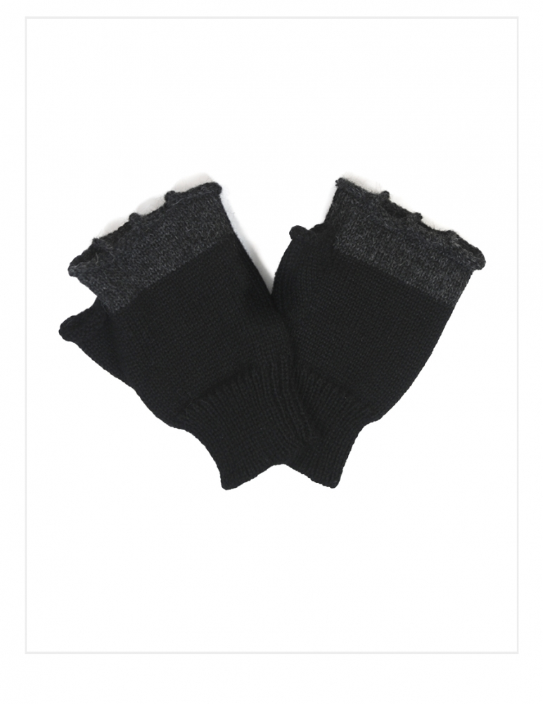 Men's Fingerless Knit Alpaca Gloves