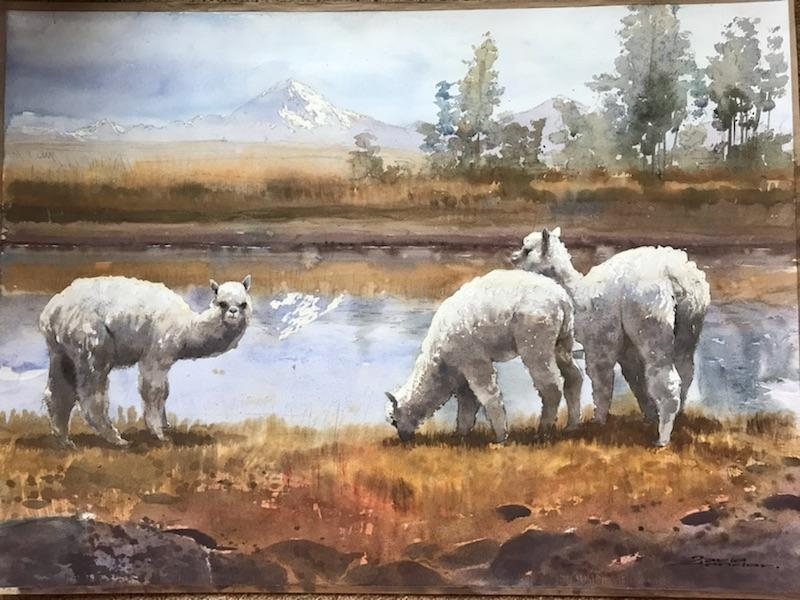 Original Art Watercolor Alpaca Scene