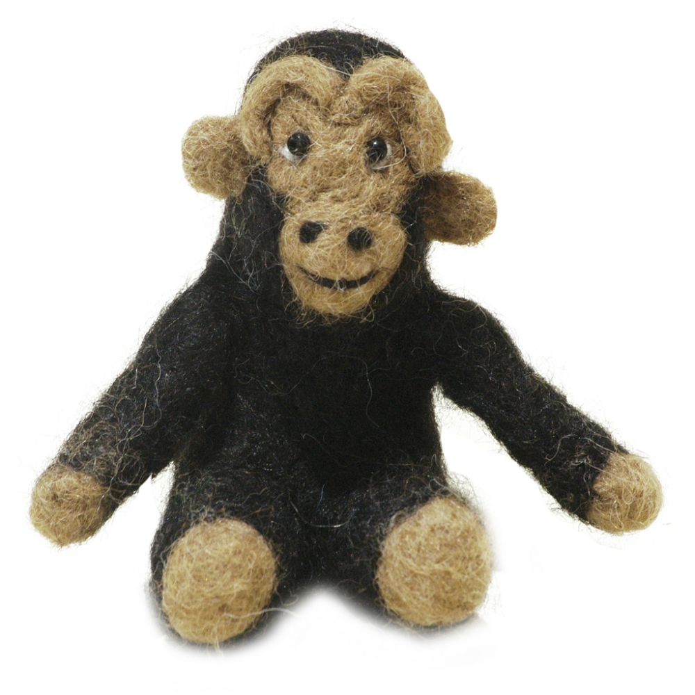 Chimpanzee: Felted Alpaca Sculpture