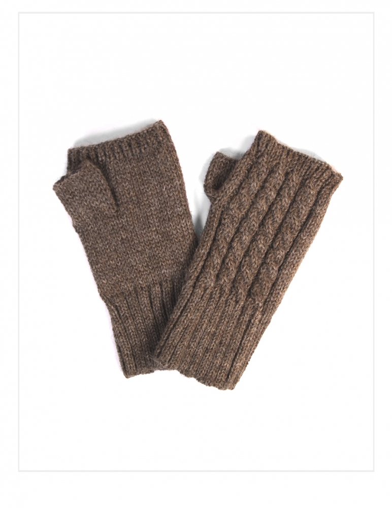 Fingerless Quad Cabled Knit Alpaca Gloves