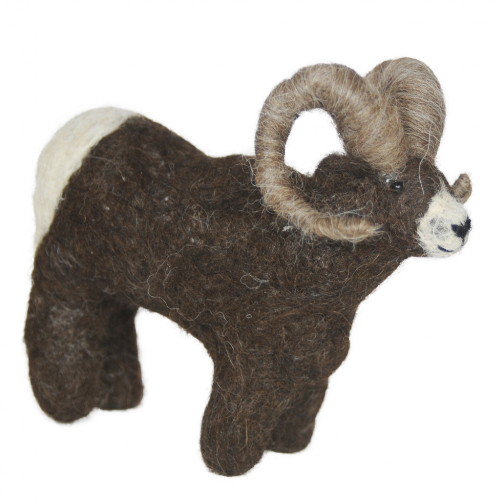 Bighorn Sheep: Felted Alpaca Sculpture