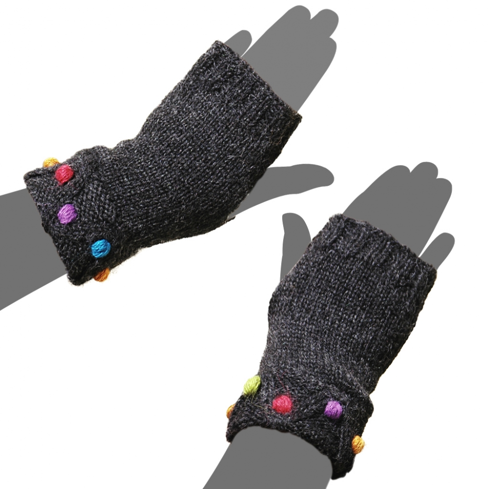 Fingerless Dot Knit Alpaca Gloves